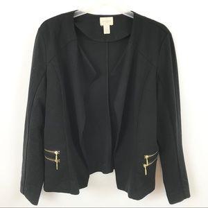 Chico's Black Drape Front Moto Style Jacket
